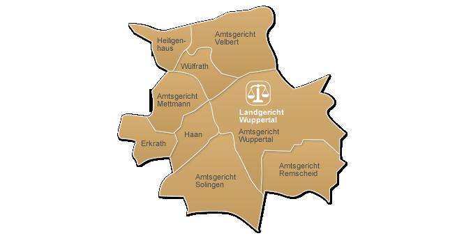 Wuppertal Karte Stadtteile.Amtsgericht Wuppertal Gerichtsbezirk